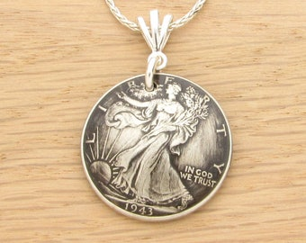 For 75th: 1943 Antiqued US Half Dollar Necklace 75th Birthday Gift Coin Jewelry