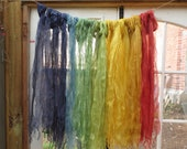Naturally dyed wild silk scarves - rainbow colours, ethically sourced
