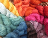 Naturally dyed fine pure British Wensleydale light DK yarn in 100g skeins