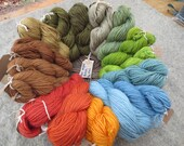 Naturally dyed aran weight worsted yarn in 60 metre skeins