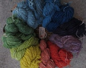 Naturally dyed, hand spun, pure wool yarn from crossbred sheep and alpaca in 60 metre skeins