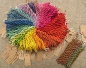 Naturally dyed spun silk yarn in 20 metre skeins