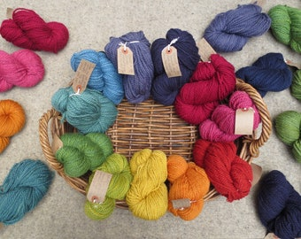 Base 1B - Naturally dyed British Bluefaced Leicester wool - superwash, aran weight in 50g skeins