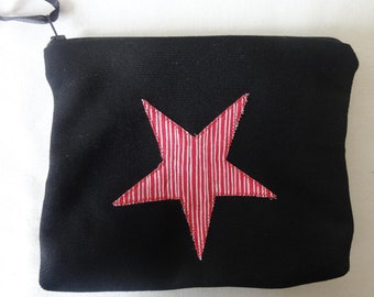 Star zip clutch in black and Red