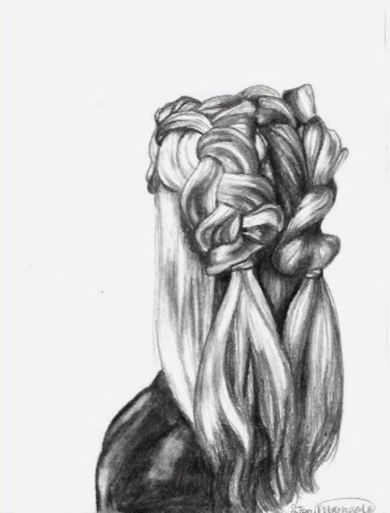 Hair braids original pencil drawing hair pencil sketch original art framed pencil sketch black and white sketch small art