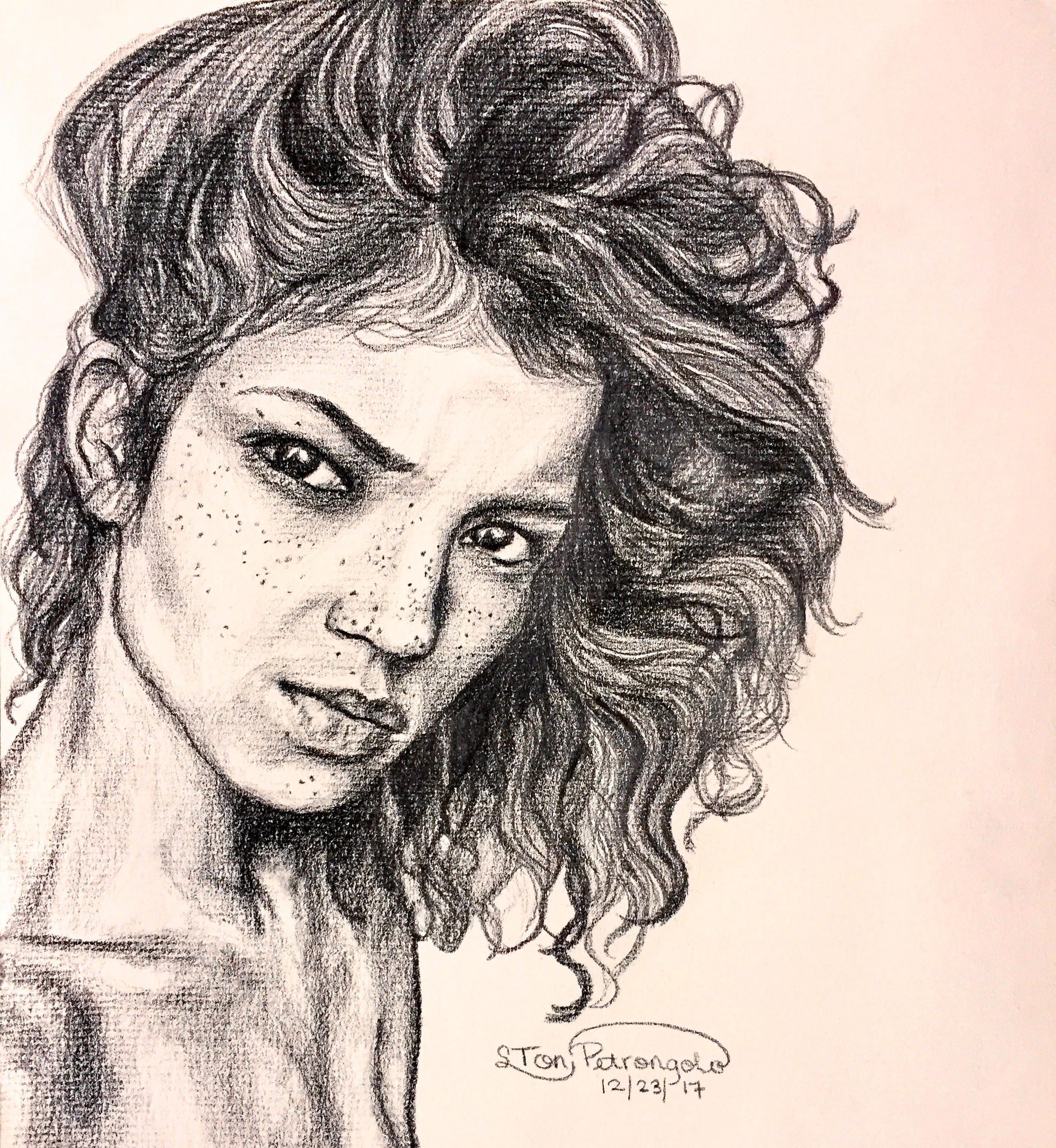 Female portrait pencil drawing dramatic artwork realistic art pencil sketch freckles portrait art figurative art original art