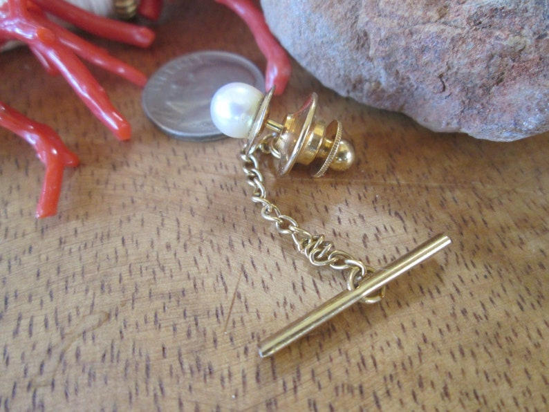 Lapel Pin Vintage Gold Filled Cultured Pearl Men/'s Tie Tack Akoya Saltwater Retro 1950s 120 12k g.f
