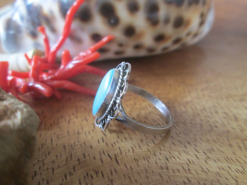 Old Filigree Sterling Silver Turquoise Ring Vintage 1970s Bell Weight Signed Taxco Mexico Size 7