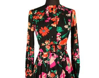 RESV CHANI Japanese Hanae Mori VIVID Floral Shirtwaist Dress / 1980s Polished Day Wear / Tokyo Garden / Bold Print on Black / Girly Harajuku