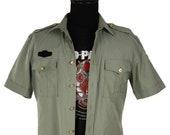 Vintage Japanese Uniform Shirt Sage Green Gold Military Buttons Utility Field Shirt Epaulets Unisex Short Sleeve Work Wear