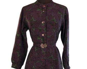 SALE - Vintage 1970's Japanese Dress / Purple and Black Abstract Floral / Chic Tokyo Designer Brand / Metal Filigree Belt Buckle
