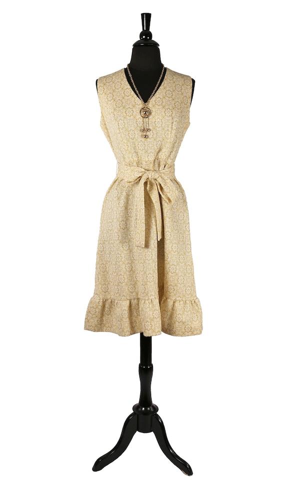Vintage 1960's MOD Gold Metallic Embroidered Dress