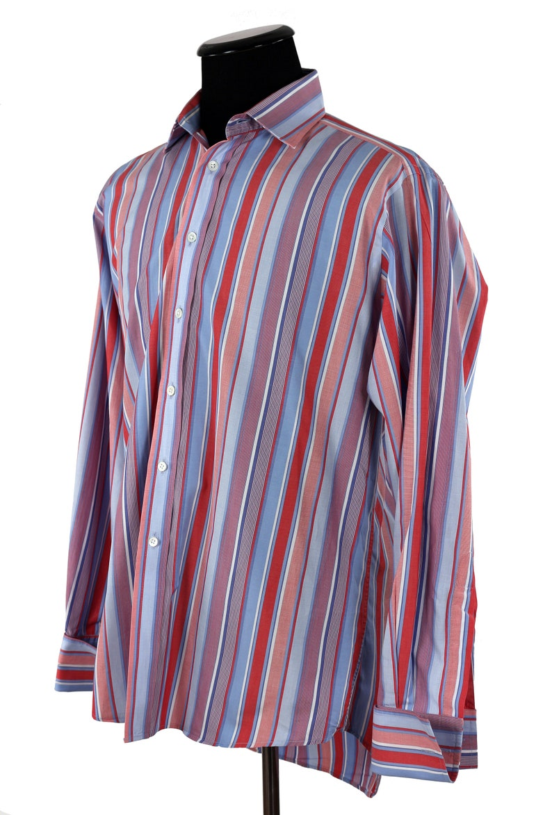Bespoke Shirt  Men/'s English Tailored  French Cuffs  Jerym St Tailors Since 1949   Harvie and Hudson of London  Blue /& Red Stripes