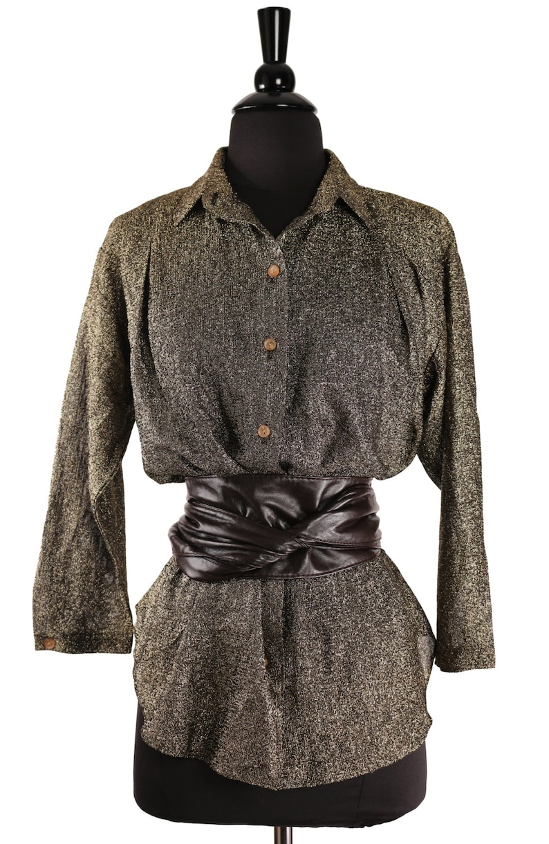 SALE Vintage 1980/'s HOT STUFF Gold /& Black Metallic Lurex Tunic    Over sized Button Down  Semi Sheer  Perfect House Party Fashion