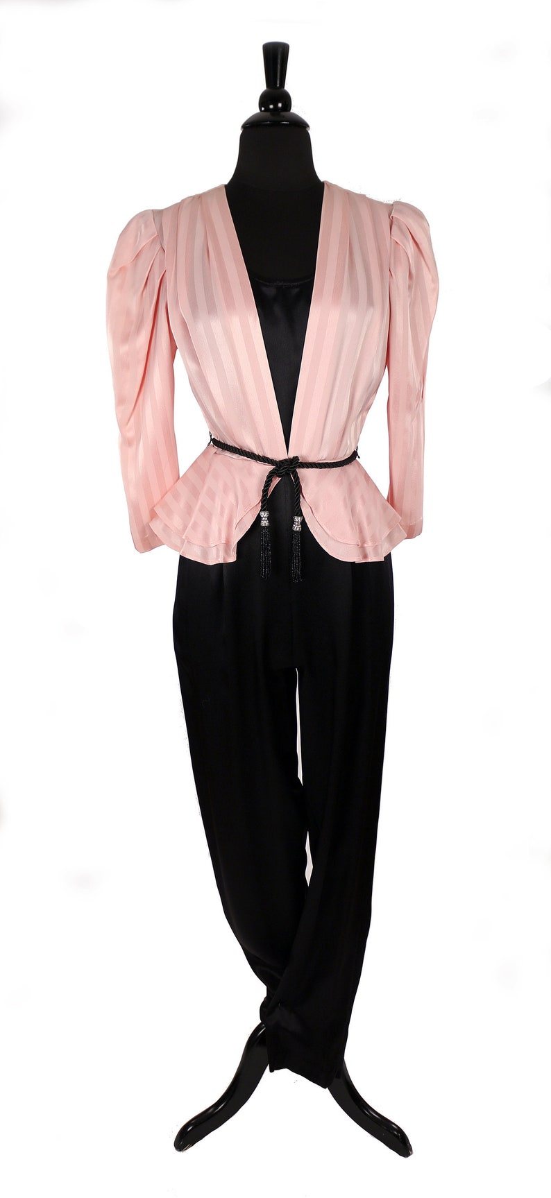 4eb1ab4f2d Vintage 1980 s Disco Jumpsuit   Tuxedo Style   Pink and