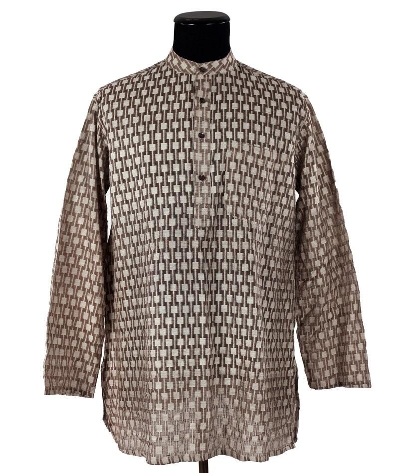 Vintage 1980/'s Silk Kurti Tunic  by FABINDIA  Eastern Influenced  Brown  Windowpane Texture  Causally Hip  Men/'s Perfect Summer Shirt