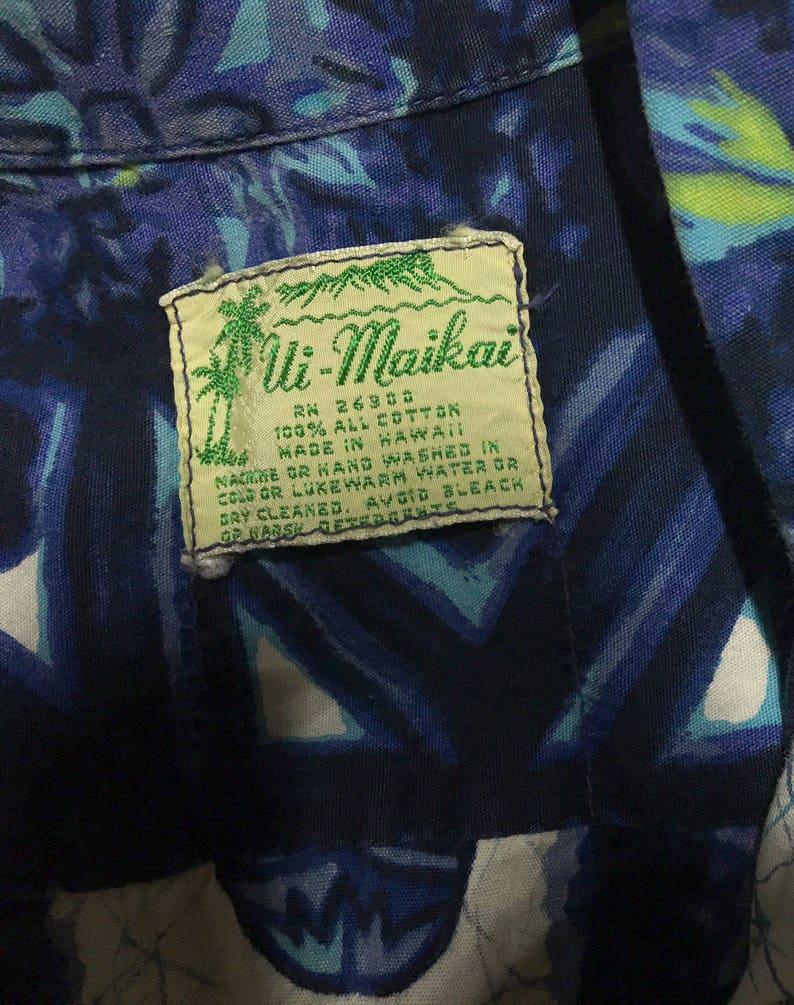 Drums /& Flower Patterned SALE Vintage 1970/'s Ui Point Break Surfer Chic Maikai Hawaii Shirt Big Island Rockabilly Blue Tiki Masks