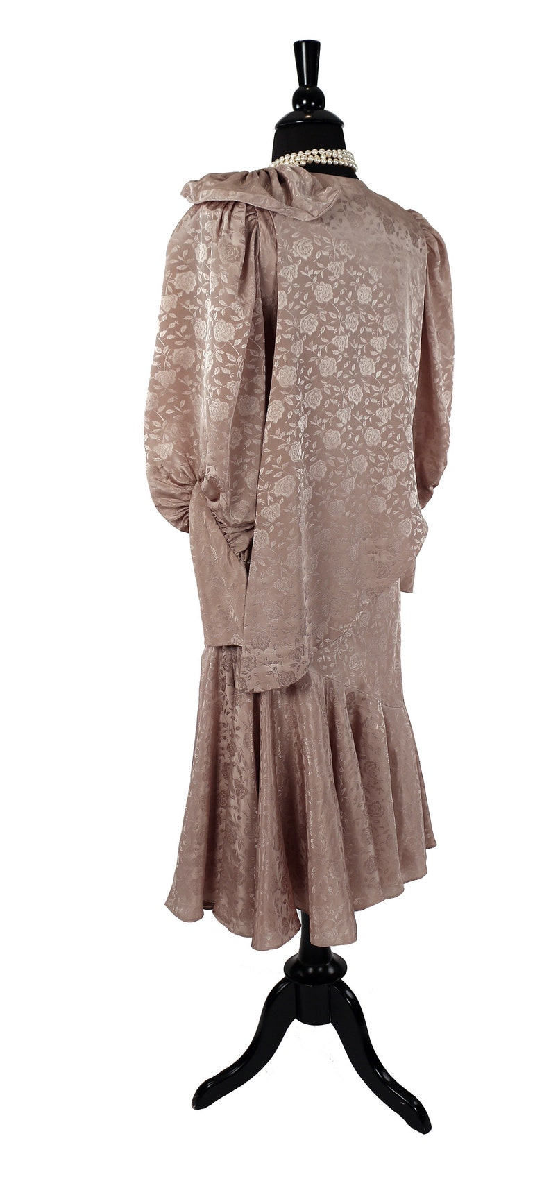 Gauntlet Cuff Trumpet Hem Nude Jacquard 1980/'s Dy/'Anne Dramatic 1 Shouldered Party Dress /& Shrug Balloon Sleeves Avant Garde Style