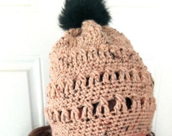 Crochet hat with pom pom, slouchy hat, floppy hat, crochet slouch hat, pom pom hat, womens slouchy hat, crochet beige hat, black pom pom hat