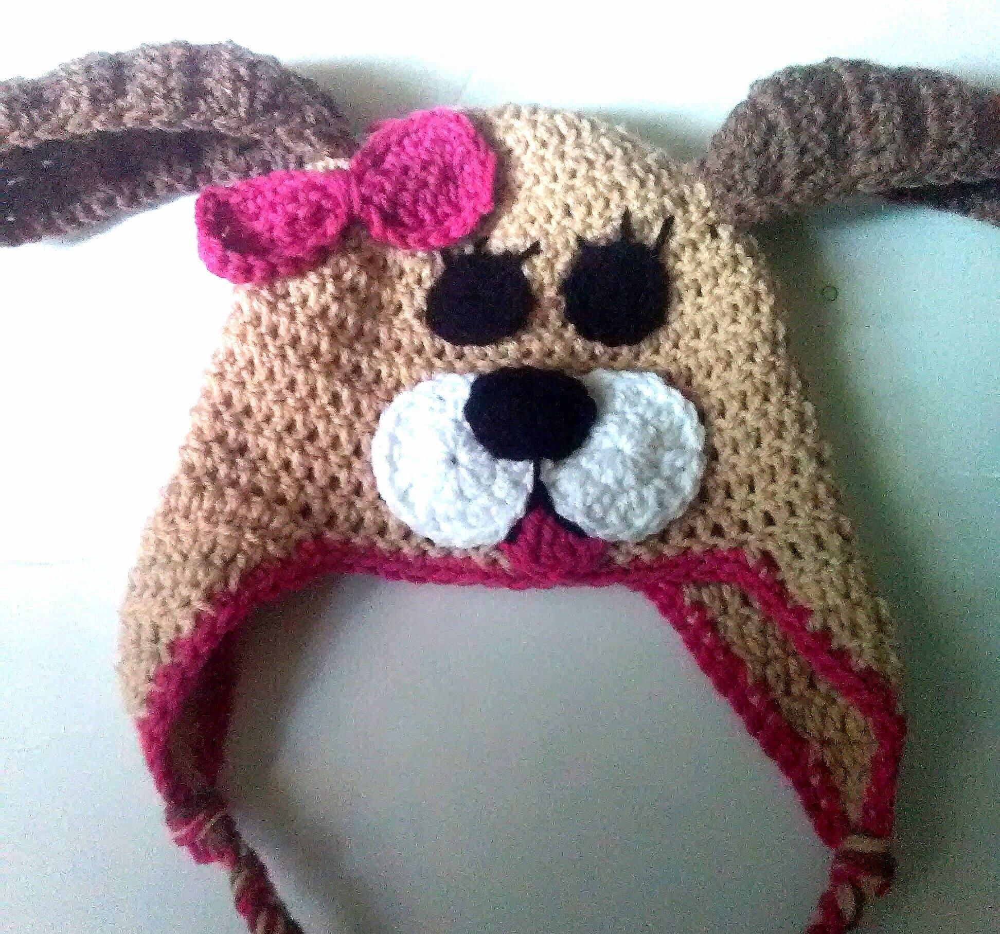 ec89f0228f0 Crochet puppy hat puppy hat with bow puppy dog hat puppy