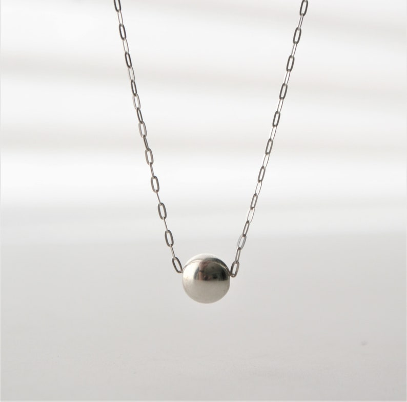 delicate necklace modern jewelry. single bead necklace chain necklace sterling silver solo sterling silver round bead
