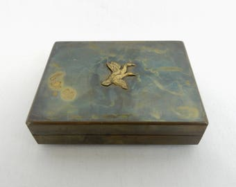 Vintage Antique Brass Trinket/Jewelry Hinged Box Leather Lined With Ducks/Birds