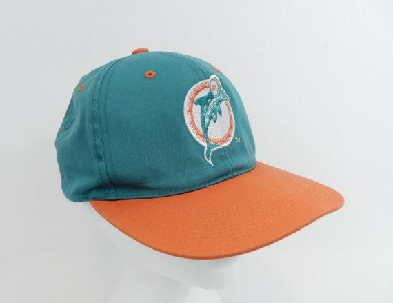 5e9cd16f Vintage Miami Dolphins Hat Sports Specialties 90's Logo Rare Green Orange  Snapback