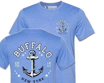 Buffalo Anchor Adult unisex t shirt | Heather Blue Tee | graphic t shirt | screen printed | premium shirt