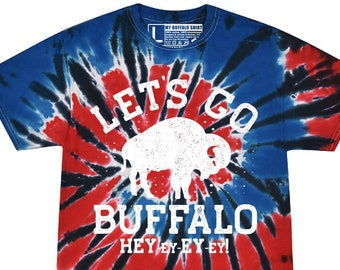 Lets Go Buffalo V2 Tie Dye Adult unisex t shirt | Red, Blue & BLACK Football Tee | graphic t shirt | screen printed | premium shirt