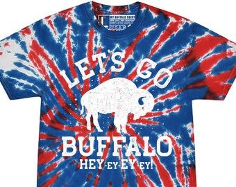 Lets Go Buffalo Tie Dye Adult unisex t shirt | Red & Blue Football Tee | graphic t shirt | screen printed | premium shirt