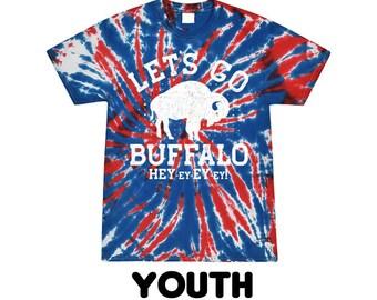 YOUTH - Lets Go Buffalo Tie Dye unisex t shirt | Red & Blue Football Tee | graphic t shirt | screen printed | premium shirt