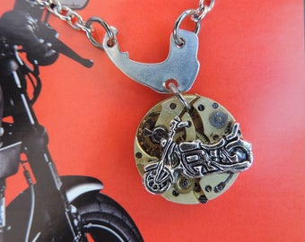 "Men necklace steampunk jewelry ""Time to ride a Harley Davidson""."