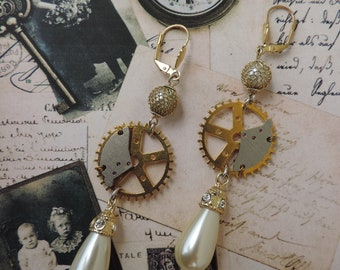 Victorian steampunk chic cocktail earrings