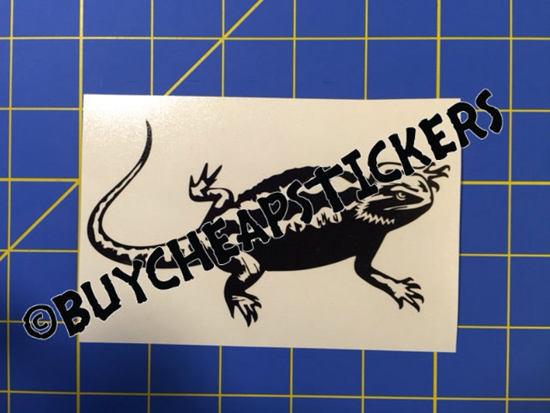 Any Color Bearded Dragon with Name Vinyl Decal Sticker 4x6
