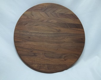 """Solid Walnut cutting board round 16"""" diameter hand crafted veteran made kitchen cooking natural wood wife gift mom gift Christmas gift"""
