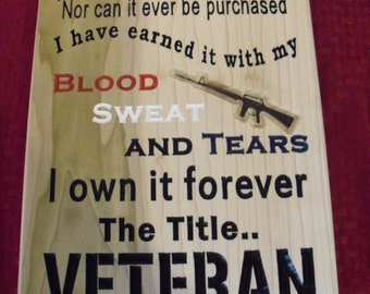 Title of Veteran plaque MOVIE PROP caved wood painted hand crafted veteran made veteran gift patriotic wall hanging