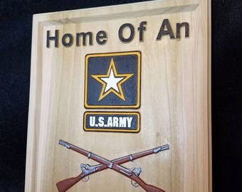 Wood Military Plaque - Custom Military Sign - Veteran Wall Hanging - 11x14 Wood Sign - Army Sign - Air Force Plaque - Memorial Sign