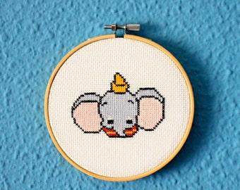 Dumbo elephant  Disney Cross stitch embroidery hoop
