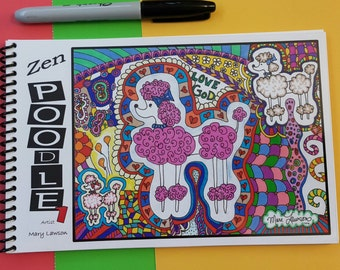 """Travel-Size #1"""" Black & White Coloring Book 5.5""""X8.5"""" ZenPoodle© by Mary Lawson - Artist"""