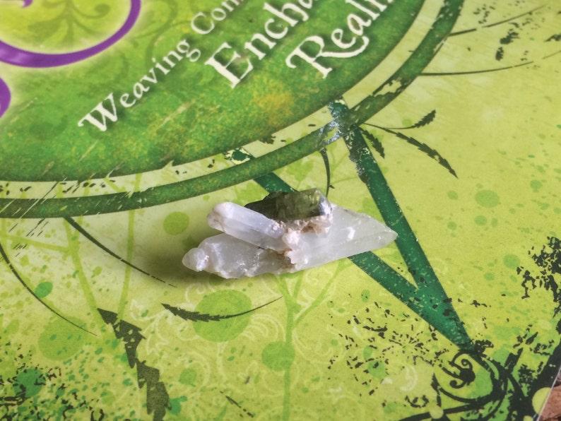 Clear QUARTZ points soulmate quartz with VERDELITE Green TOURMALINE