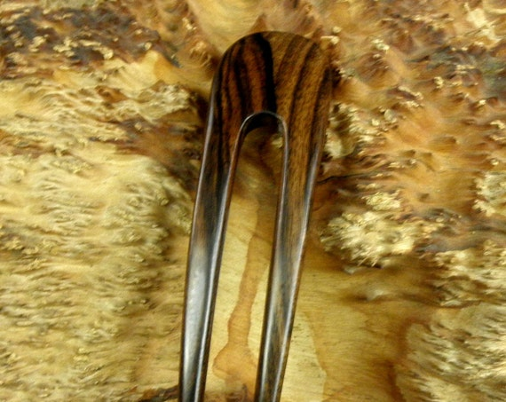"Striped Ebony 5 Inch Two Prong Curved Hair Fork FPL 4 Inch Pick Pin Pic Comb Stick Black Dark Brown Grain 1 1/8"" wide Bun Holder"