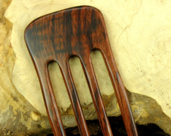 """Laos Rosewood 6 Inch Four Prong Straight Hair Fork Pick Pin Comb Pic Deep Red with Dark Streaked Grain 2 5/8"""" wide FPL 4 5/8"""" Strong"""