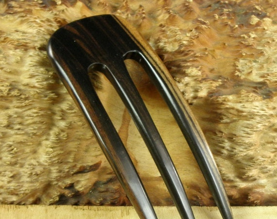 "SE Asian Ebony 5 Inch Three Prong Curved Hair Fork FPL 4 Inch Pick Pin Comb Stick Black Dark Brown Grain 1 7/8"" wide 1/4"" Thick Bun Holder"