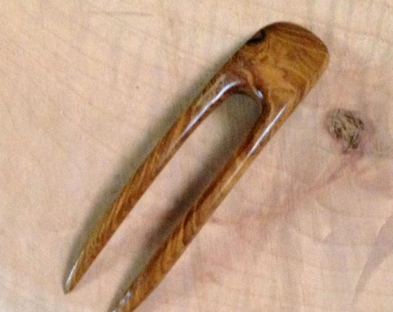 "Teak  4.5 Inch Handmade Wooden Curved 2-Prong Hair Fork FPL 3.5 ""  Comb Pin Pic Pick Stick which fits contour of the Head"