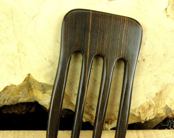 """SE Asian Striped Ebony 6 Inch Four Prong Straight Hair Fork Black Pick Pin Pic Comb  Dark Brown Grain  2 5/8"""" inch Wide  FPL 4 5/8""""  Strong"""