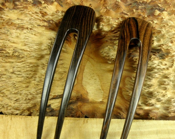 "TWO Striped Ebony 5 Inch Two Prong Curved Hair Fork FPL 4 Inch Pick Pin Pic Comb Stick Black Dark Brown Grain 1 1/8"" wide Bun Holder"