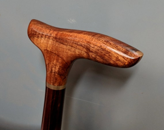 "Curly Hawaiian Koa Cane Handle Brown Indian Rosewood Spiral Shaft Cane Walking Stick 38 1/8"" long  Wooden Semi-Gloss Lacquer KR-102518-B"