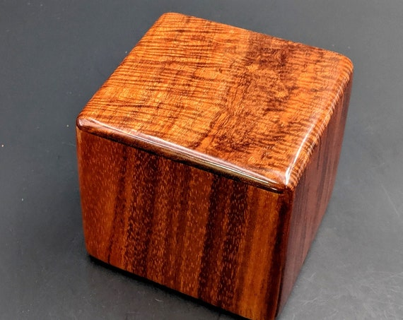 "Curly Hawaiian Koa  Pet or Infant Small Cremation Urn  4 3/4"" x 4 1/2"" x 4""  Custom Handmade Urns Ashes Memorial Keepsake Urn SK-081419-B"