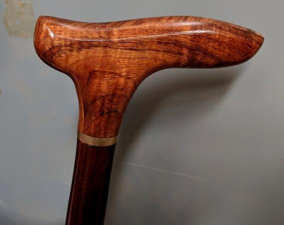 "Curly Hawaiian Koa Cane Handle Brown Indian Rosewood Spiral Shaft Cane Walking Stick 38"" long  Wooden Semi-Gloss Lacquer KR-102518-A"