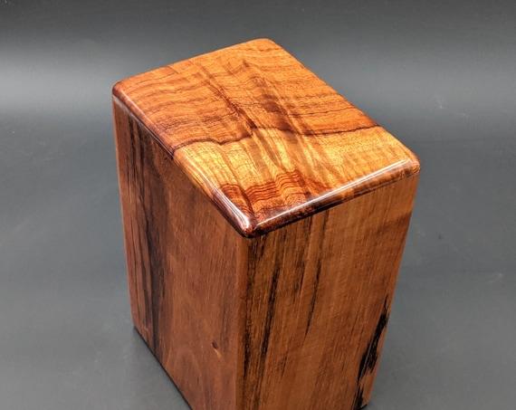 """Large Curly Hawaiian Koa Wooden Memorial Cremation Urn... 7""""wide x 5""""deep x 9""""high Wood Adult Cremation Urn Handmade in Hawaii LK-120219-A"""